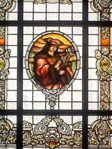 witraż ze św. Królewiczem Kazimierzem