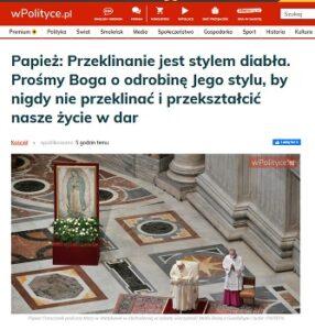 Papież o przeklinaniu